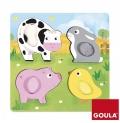 Puzzle animales granja tela