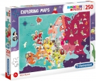Puzle 250 piezas mapa de personajes de Europa