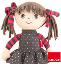 Muñeca de trapo Alice coletas pelo marrón (35cm)