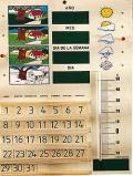 Calendario escolar de madera con termómetro