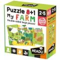 Puzzle 8+1 mi Granja (My Farm). Grandes piezas doble cara