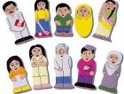 Títeres de dedo. Familia asiática