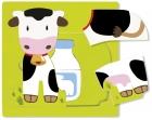 Vaca, leche y queso. Puzle 3 niveles.