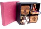 Set 4 en 1. Rompecabezas de madera en caja de papel de arroz
